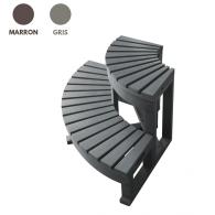 Escalier d'angle pour spa - 2 marches - Spalnéa marron